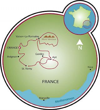 Provence Road Bike Tour Map