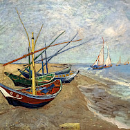 Fishing boats on the Beach by Vincent Van Gogh in Saintes-Maries-de-la-Mer, 1888.