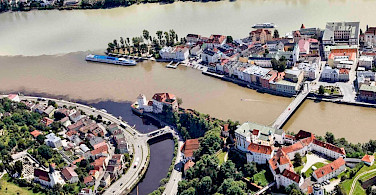 "Passau is the ""City of Three Rivers"" (Danube, Ill, Ilz) in Lower Bavaria, Germany. Photo via Flickr:RobRoodsellar-Public Domain"