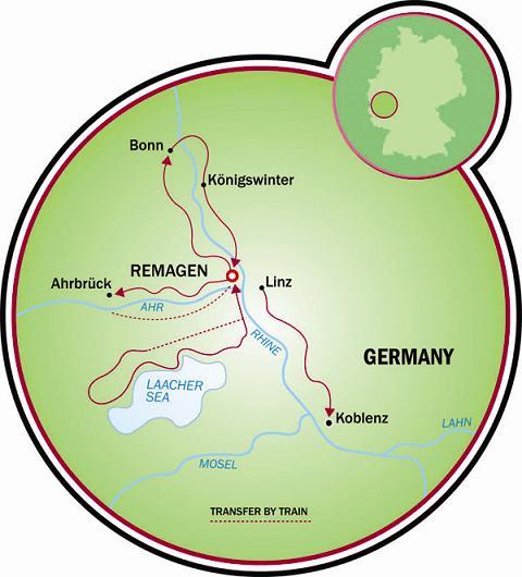 Remagen Rhine Valley Bike Tour Germany Tripsite - Rhine valley germany map