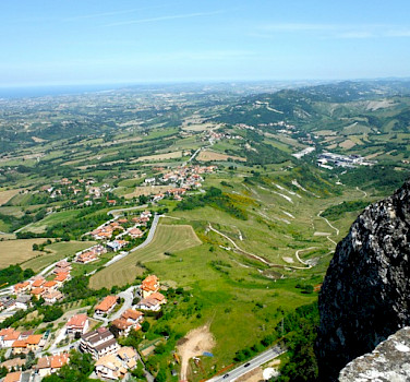 View from San Marino, Italy, towards Riccione along the Adriatic Sea. Photo by Sally Fishbeck
