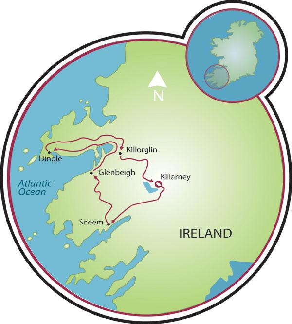 Map Of Ireland Showing Dingle.Ring Of Kerry Dingle Peninsula Bike Tour Ireland Tripsite