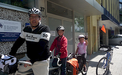 Don Shields with his kids enjoying the Road of 100 Castles - Münsterland Bike Tour.
