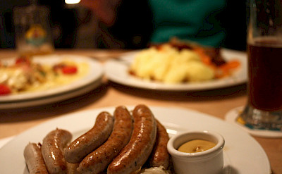 Sausages and beer, German staples. Flickr:Alejandro de la Cruz