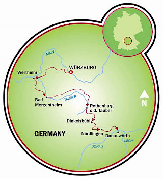 Tauber River Valley Romantic Road Map