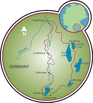 Estrada Romântica & os Lagos Baviera Map