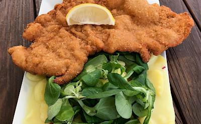 Schnitzel is a favorite in Austria. Flickr:skjaidev