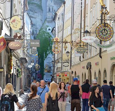 Shopping the famous <I>Getreidegasse</I> in Salzburg, Austria. Photo via Flickr:Flightlog