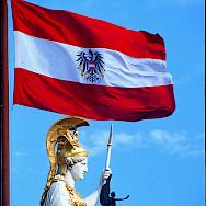 Austrian Flag in Vienna, Austria. Photo courtesy of Austrian National Tourist Office