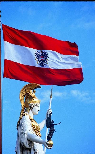 Austrian Flag in Vienna, Austria. Photo via Austrian National Tourist Office