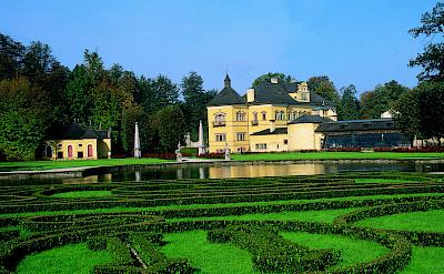 Gardens of the HeIlbrunn Palace in Salzburg, Austria. Photo via Austrian Board of Tourism