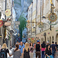 Shopping the famous <I>Getreidegasse</I> in Salzburg, Austria. Photo via Flickr:Flightlog