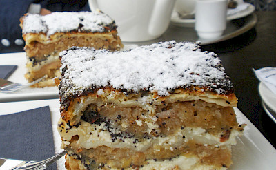 Prekmurska gibanica (Prekmurian layer cake) is a specialty of Slovenia. Flickr:Amanda Slater