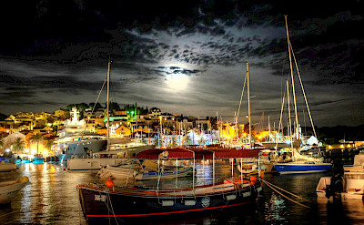Moonrise over Hvar Island Harbor, Dalmatia, Croatia. Photo via Flickr:Min Zhou