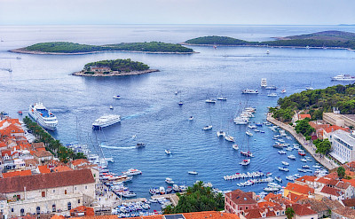 Ship in harbor at Hvar Island, Dalmatia, Croatia. Flickr:Arnie Papp