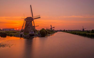 Sunset in Kinderdijk, South Holland, the Netherlands. Flickr:Jiuguang Wang