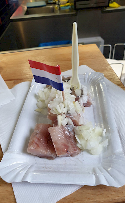 Traditional herring treat in the Netherlands. ©TO