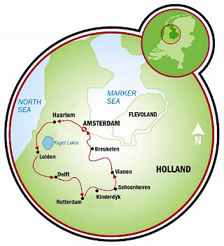 Tour del Sur de Holanda Map
