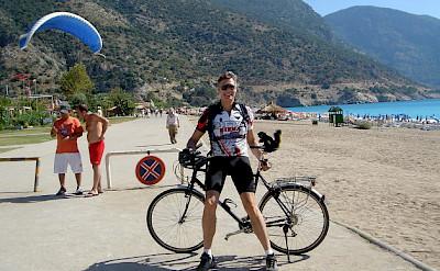 A bike break on the beach in southern Turkey. Photo by Paul Bartlett