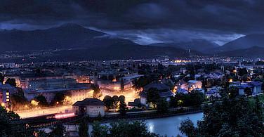 Innsbruck at night in Tyrol, Austria. Photo via Flickr:Alex Holzknecht