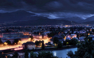 Innsbruck at night in Tyrol, Austria. Flickr:Alex Holzknecht