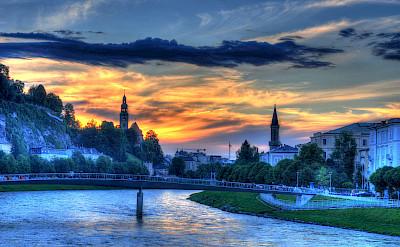 Salzburg along the Salzach River, Austria. Flickr:Mike Norton