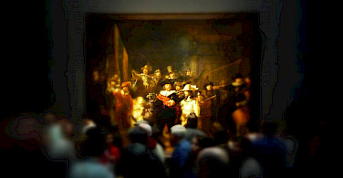 Rembrandt's famous Nightwatch at the Rijksmuseum, Amsterdam. North Holland. Photo via Flickr:Neil Thompson