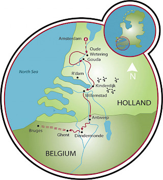 Tulip Tour - Amsterdam to Bruges - 8 day Map