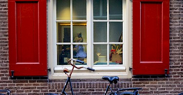 Vermeer painting through window in Amsterdam. North Holland, the Netherlands. Photo via Flickr:Francesca Cappa