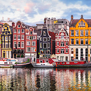 Colorful row houses in Amsterdam