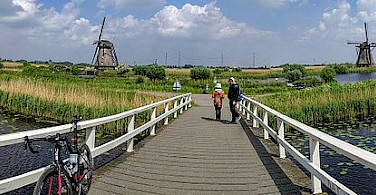 Panorama of Kinderdijk with its 19 windmills in South Holland, the Netherlands.