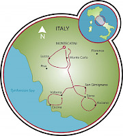 Tuscany Road Bike Tour Map