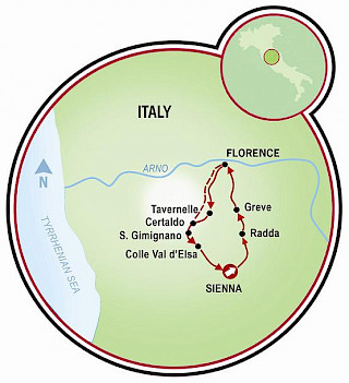 Tuscany - Florence, Siena, and the Chianti Map