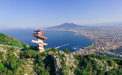 Cable car along the Amalfi Coast on the Tyrrhenian Sea.
