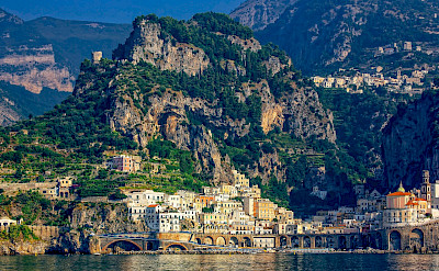 Many seaside towns along the Amalfi Coast in Italy.