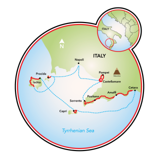 Amalfi Coast - Tyrrhenian Sea - Bike & Boat Map