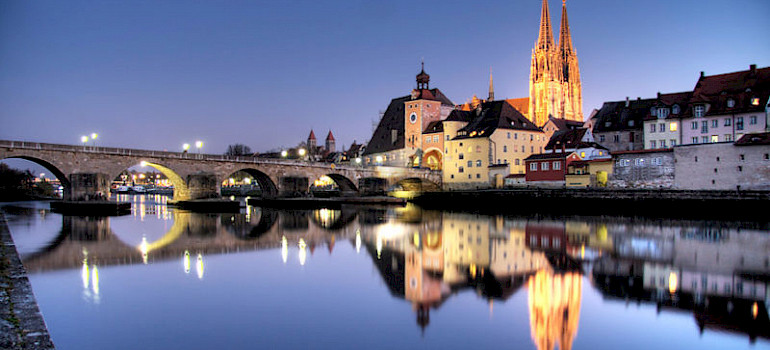 Regensburg at night - photo via Creative Commons: Ulrich Oestringer