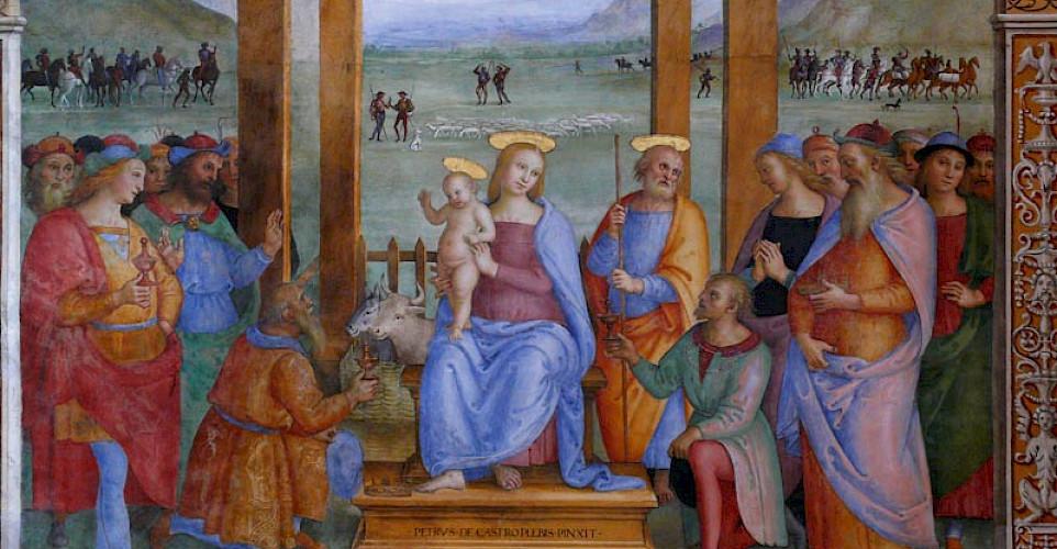 Pietro Perugino fresco, <i>Adoration of the Magi</i>, on display in Perugia, Umbria, Italy.