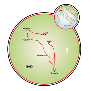 Umbria - Gastronomy Bike Tour Map