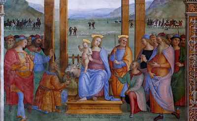 Pietro Perugino fresco, <i>Adoration of the Magi</i>, on display in Perugia, Umbria, Italy.