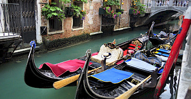 Gondola rides in Venice, Italy. Photo via Flickr:gnuckx