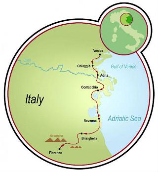 Veneza a Florença Map