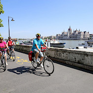 Biking along the Danube in Budapest, Hungary. Photo via TO