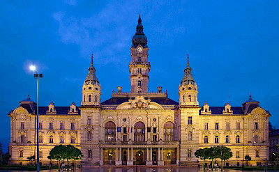 Town Hall or Rathaus in Gyor, Hungary along the Danube River. Photo via Wikimedia Commons:Slashme
