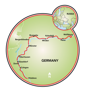 Wolfsburg to Koblenz Map