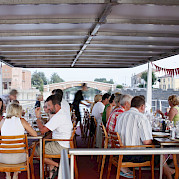 Outdoor dining | Ave Maria | Bike & Boat Tour
