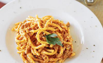 Meaty pasta | Ave Maria | Bike & Boat Tour