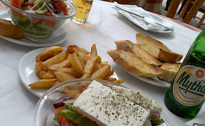 Typical lunch with local Greek Mythos beer in Greece! Flickr:Mark Hillary
