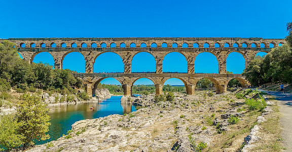 Pont du Gard, the Roman aqueduct of Nîmes over the Gardon River, France. Wikimedia Commons:Jan Hager