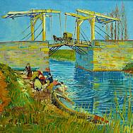 Langlois Bridge in Arles with Women Washing by Van Gogh, 1888.